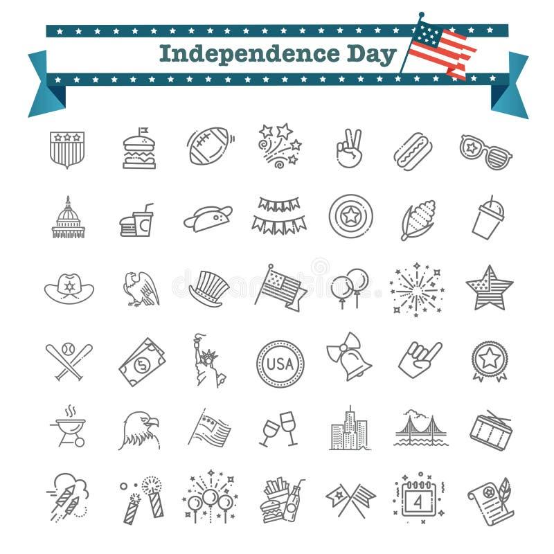 Ajuste da linha ícones do Dia da Independência de 42 EUA apropriado para a Web, o infographics e os apps ilustração royalty free
