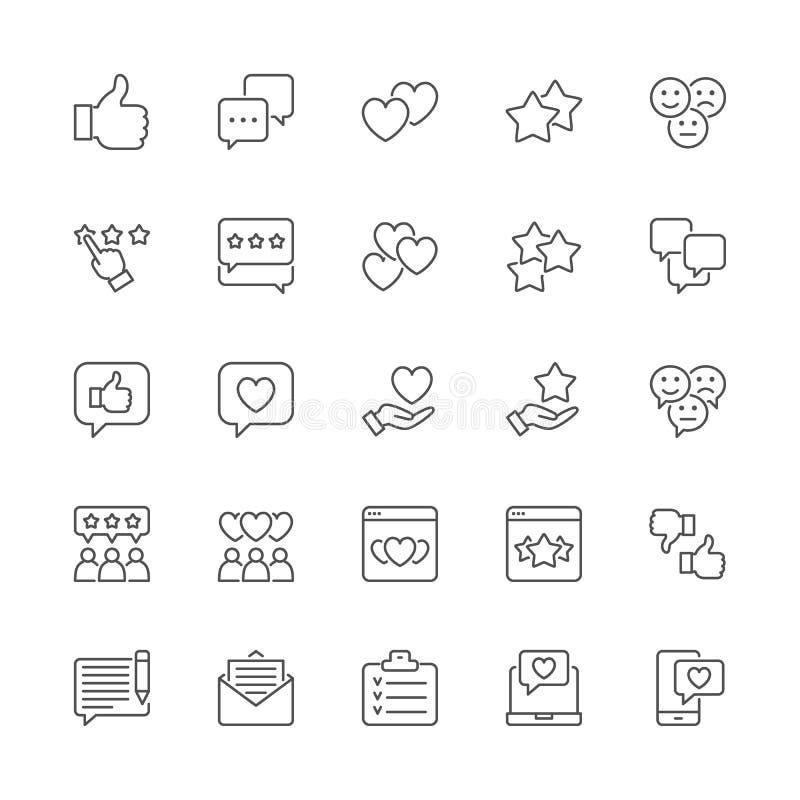 Ajuste da linha ícones do feedback Polegar acima, como, desagrado, corações, bate-papo, Sms e mais ilustração royalty free