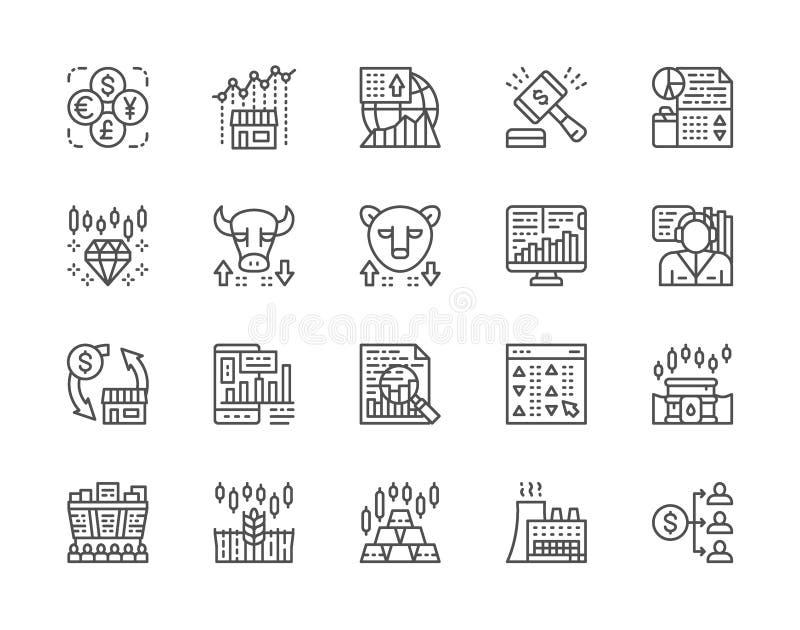 Ajuste da linha ícones do mercado de valores de ação Mercado de Bull e de urso, comerciante, dividendo e mais ilustração royalty free