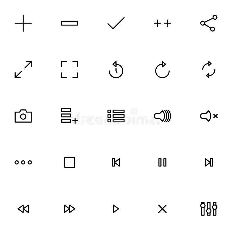 Ajuste da linha ícones do reprodutor multimedia no fundo branco, para toda a ocasião ilustração do vetor