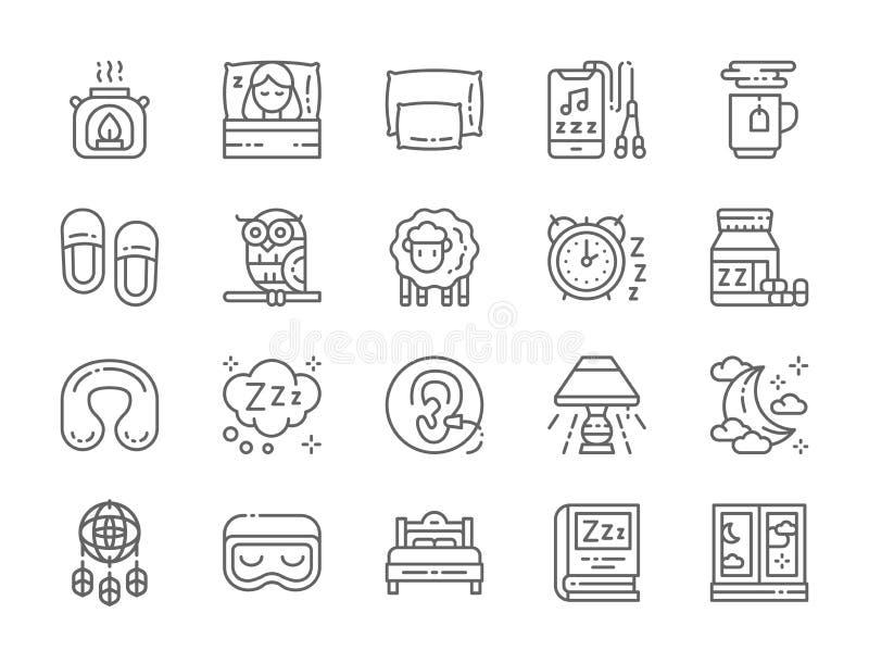 Ajuste da linha ?cones do sono L?mpada do aroma, cama, descanso, fones de ouvido, ch? quente e mais ilustração stock