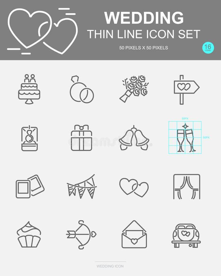 Ajuste da linha ícones do vetor do casamento Inclui a rosa, anel, bolo, bebida e mais pixel 50 x 50 ilustração stock