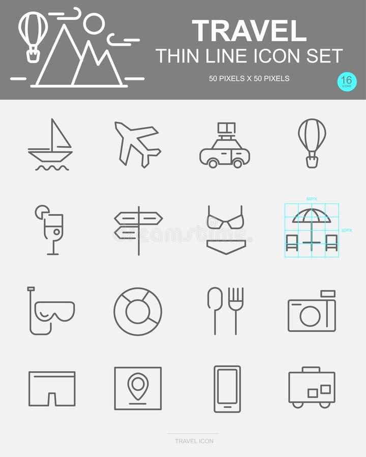 Ajuste da linha ícones do vetor do curso Inclui a praia, restaurante, passaporte, bagagem e mais ilustração stock