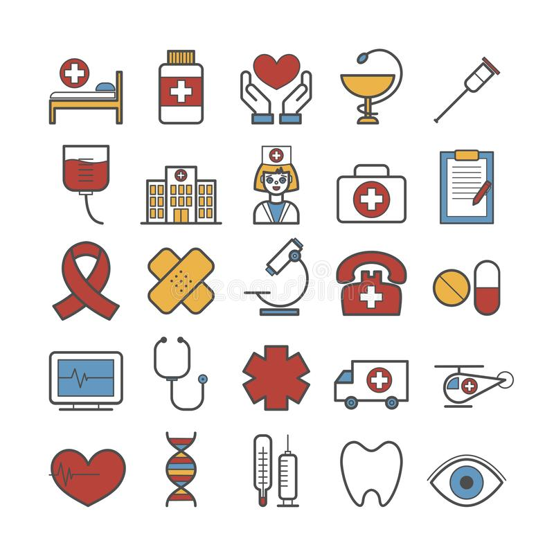 Ajuste da linha ícones do vetor da medicina fotos de stock royalty free