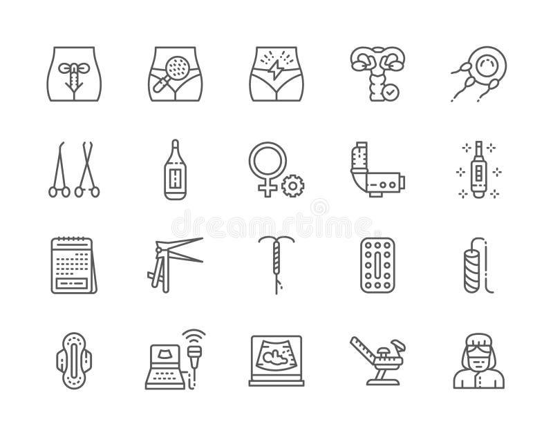 Ajuste da linha ícones da ginecologia Termômetro, teste de gravidez, tampão e mais ilustração stock