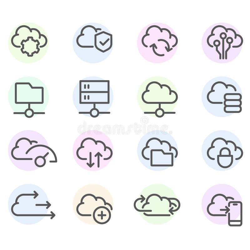 Ajuste da linha ícones da nuvem do computador - sincronização dos dados, transferência, computação da nuvem ilustração do vetor