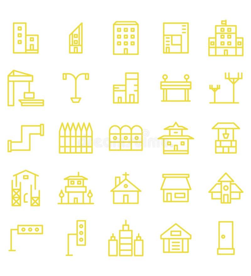 Ajuste da linha amarela ícone ou símbolo da cidade da construção e dos bens imobiliários da ilustração Curso edit?vel e cor ilustração royalty free