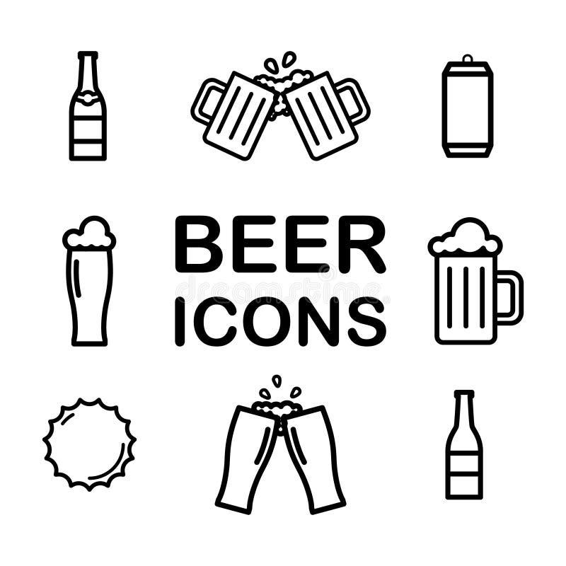 Ajuste da linha ?cones da cerveja Álcool, bebida, pinta, vidro, garrafa, lata Vetor ilustração royalty free