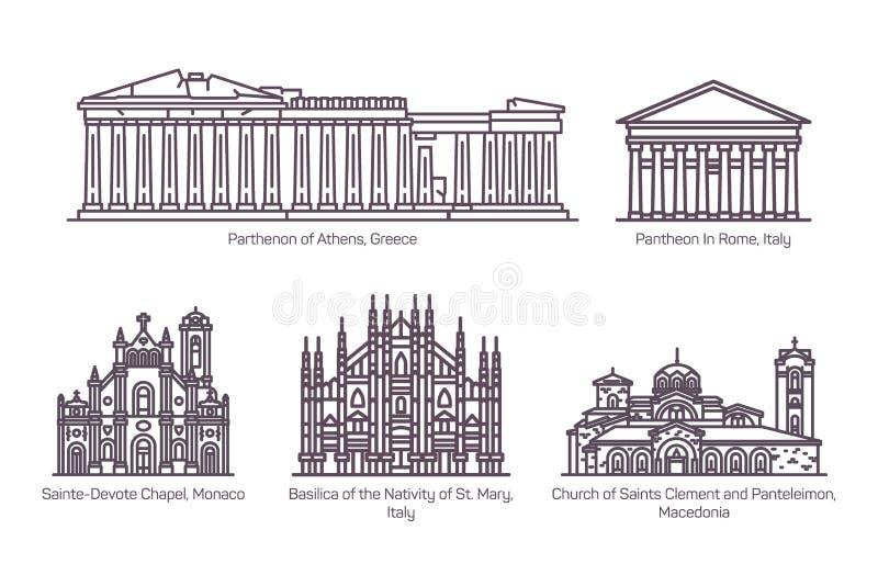 Ajuste da linha construções europeias isoladas da religião ilustração royalty free