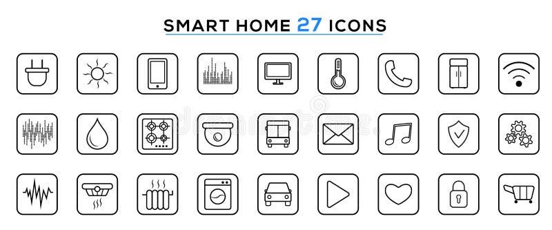 Ajuste da linha esperta ícones da casa Internet das coisas Tecnologia de sistema esperta moderna da automatização da casa ilustração royalty free
