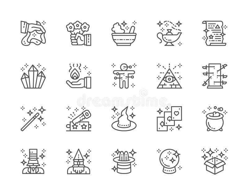 Ajuste da linha mágica ícones da mostra Chapéu da bruxa, ilusionista, feiticeiro, circo e mais ilustração do vetor