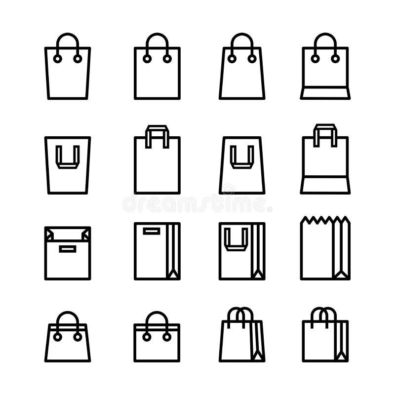 Ajuste da linha mínima cor preta dos ícones e estilo liso do saco de compras isolados no fundo branco ilustração do vetor