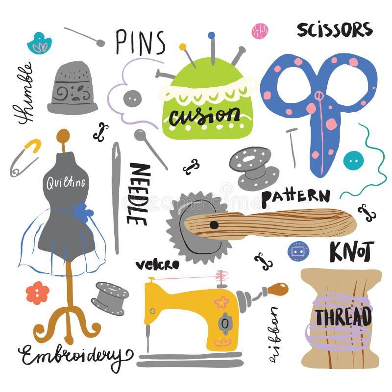 Ajuste da mão diferente tirada costurando ferramentas com rotulação ilustração do vetor