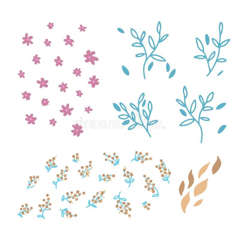 Ajuste da mão do vetor tirada para rabiscar elementos florais Elementos para o convite do projeto simples, cartões da decoração d ilustração do vetor