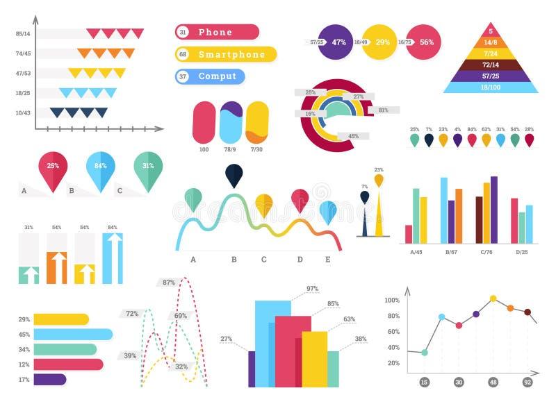 Ajuste da maioria de elementos infographic úteis - gráficos de barra, gráfico de setores circulares, etapas e opções, trabalhos,  ilustração do vetor