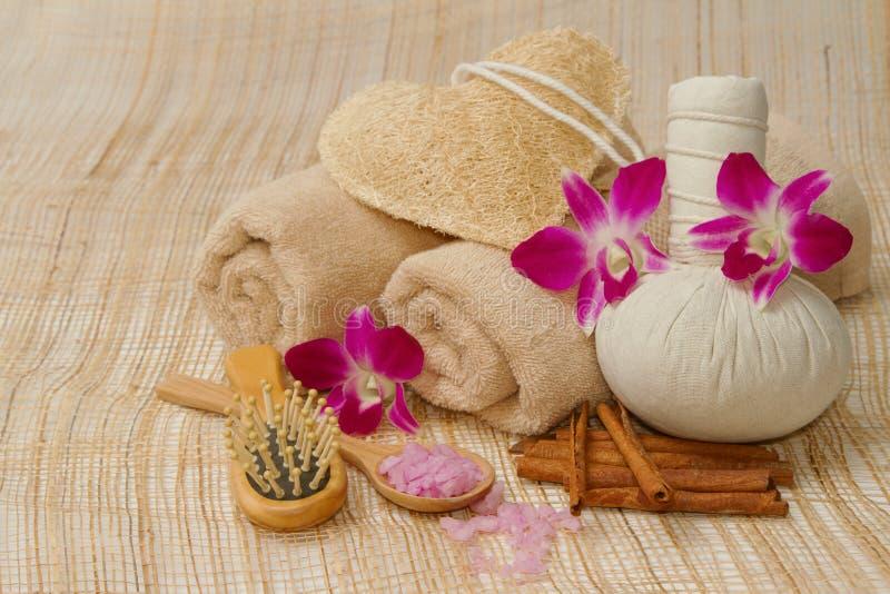 Ajuste da massagem dos termas com as bolas da erva e da compressa foto de stock