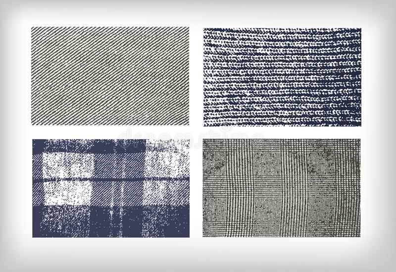 Ajuste da mistura de lã das calças de brim de pano das texturas ilustração stock