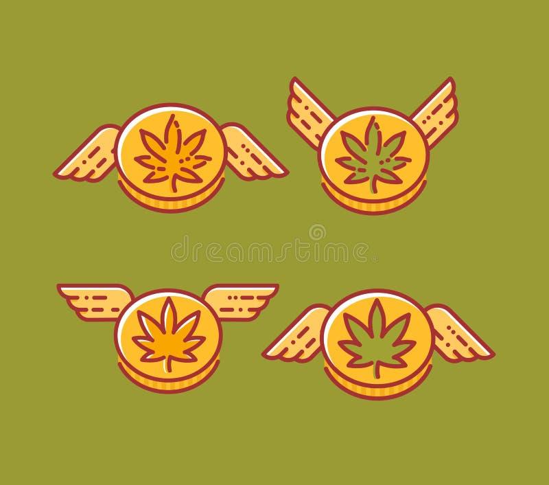 Ajuste da moeda do cannabis com as asas em vários estilos, ícones do vetor ilustração stock