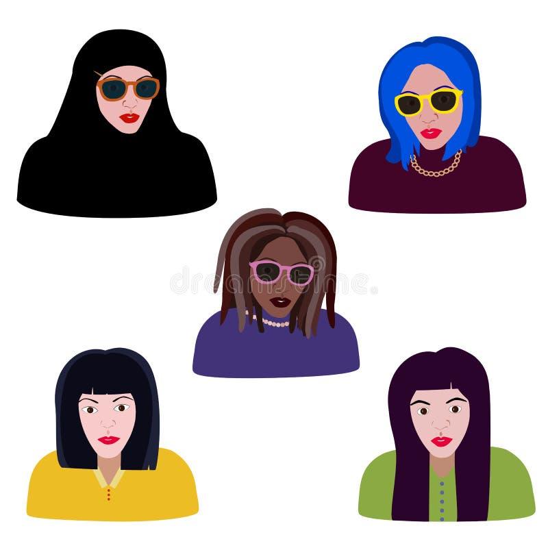 Ajuste da mulher das raças e das religiões diferentes, retratos dos muçulmanos, meninas caucasianos, pretas, asiáticas Retratos d ilustração royalty free
