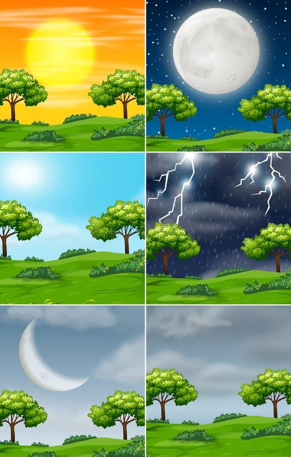 Ajuste da natureza no tempo diferente ilustração royalty free