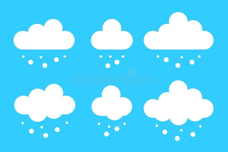 Ajuste da nuvem com os ícones da neve no estilo liso dos desenhos animados isolados no fundo azul Tempo do inverno dos elementos  ilustração do vetor