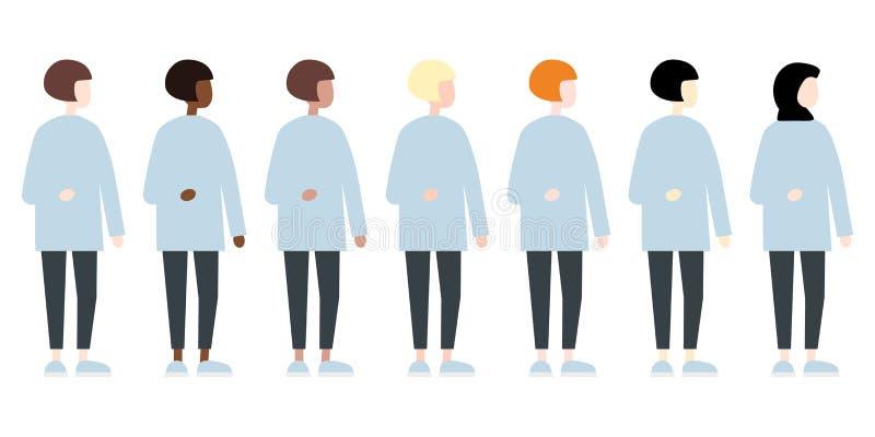 Ajuste da opinião lateral das mulheres diversas do vetor da raça Estilo liso moderno bonito e simples ilustração do vetor