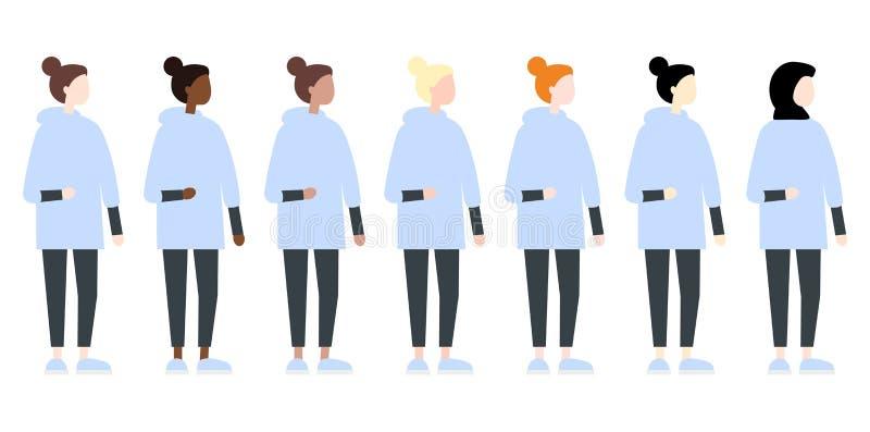 Ajuste da opini?o lateral das mulheres diversas do vetor da ra?a Estilo liso moderno bonito e simples ilustração stock