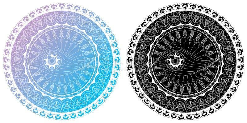 Ajuste da página de Mandala Coloring para o olho adulto Mandala Coloring Pages For Meditation do projeto da mandala do abrandamen ilustração stock