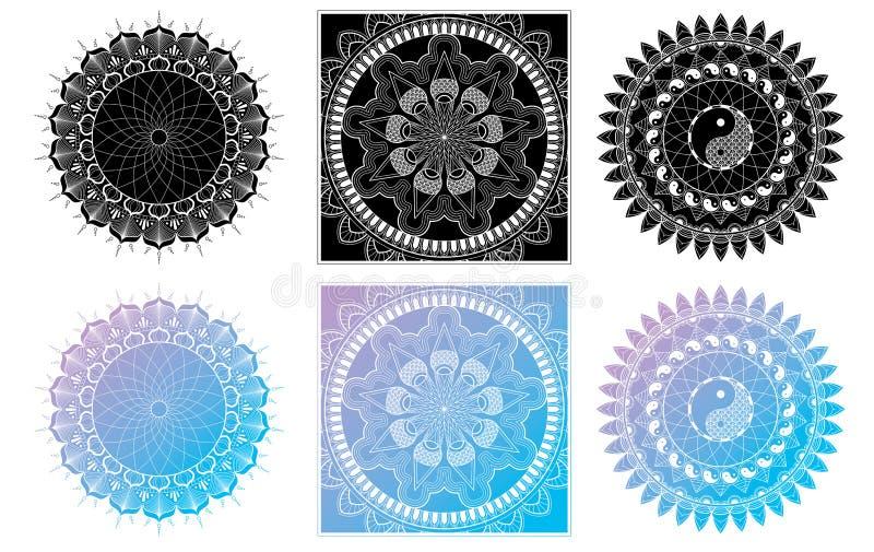 Ajuste da página de Mandala Coloring para o olho adulto Mandala Coloring Pages For Meditation do projeto da mandala do abrandamen ilustração royalty free