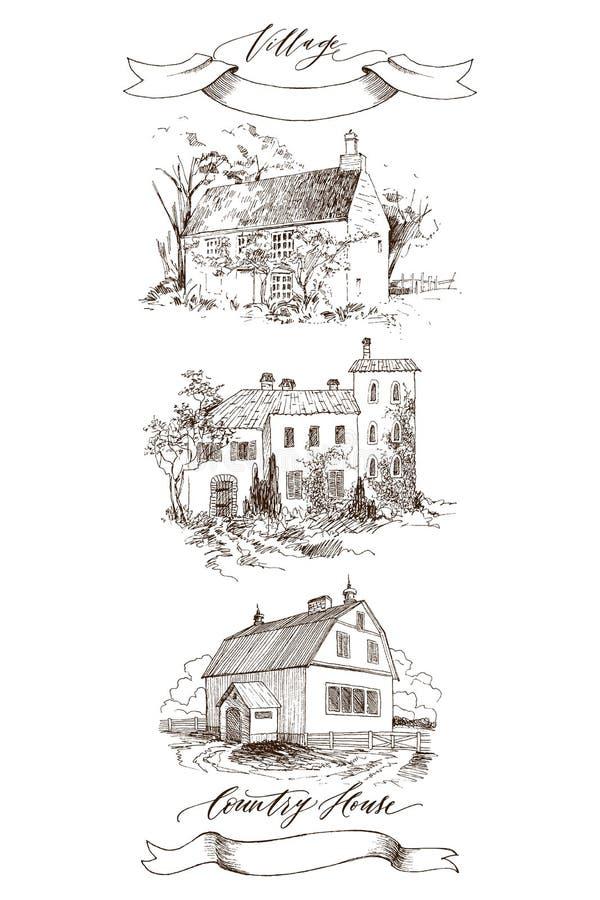 Ajuste da paisagem rural com casa da quinta e o jardim velhos Ilustração tirada mão no estilo do vintage Fita retro com ilustração do vetor