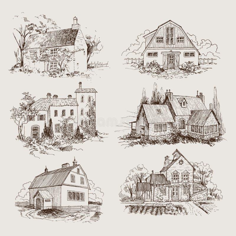 Ajuste da paisagem rural com casa da quinta e o jardim velhos Ilustração tirada mão no estilo do vintage Projeto do vetor ilustração stock