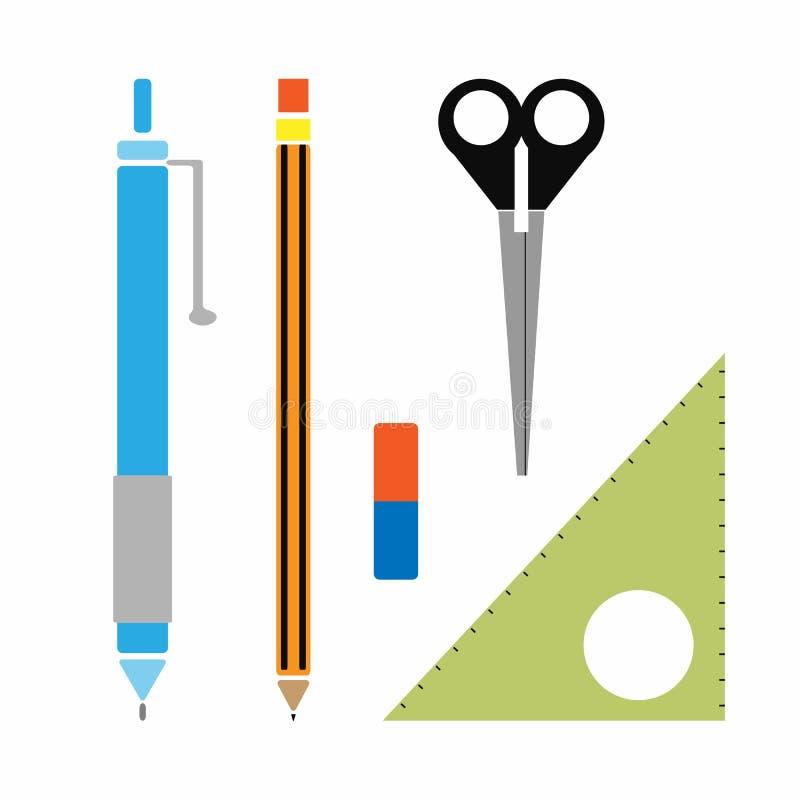 Ajuste da pena, l?pis, eliminador, r?gua triangular, tesouras Ilustra??o do vetor ilustração stock