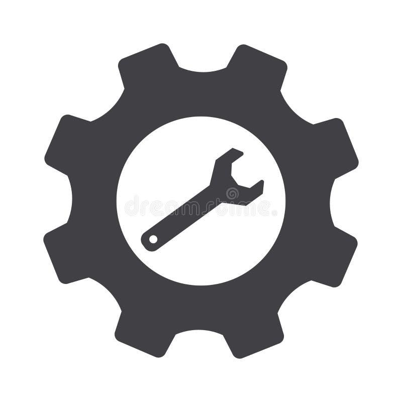Ajuste da roda denteada e vetor cinzentos da chave Ícone dos ajustes ilustração stock