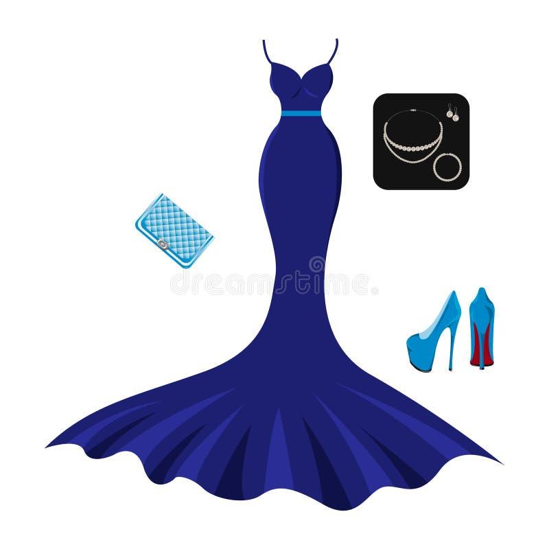 Ajuste da roupa de noite da forma com acessórios ilustração do vetor