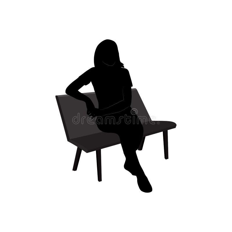 Ajuste da silhueta preta da mulher de assento no fundo branco ilustração stock