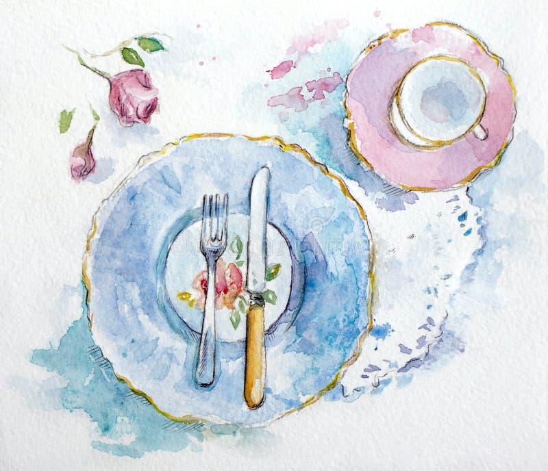 Ajuste da tabela da aquarela ilustração stock
