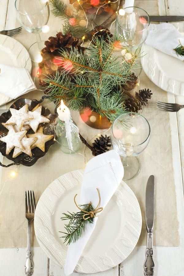 Ajuste da tabela do Natal imagem de stock