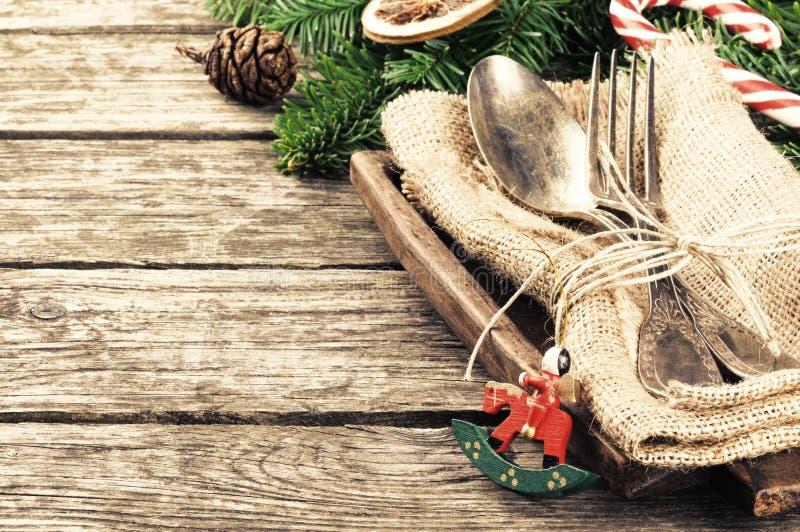 Ajuste da tabela do Natal no estilo retro imagem de stock royalty free