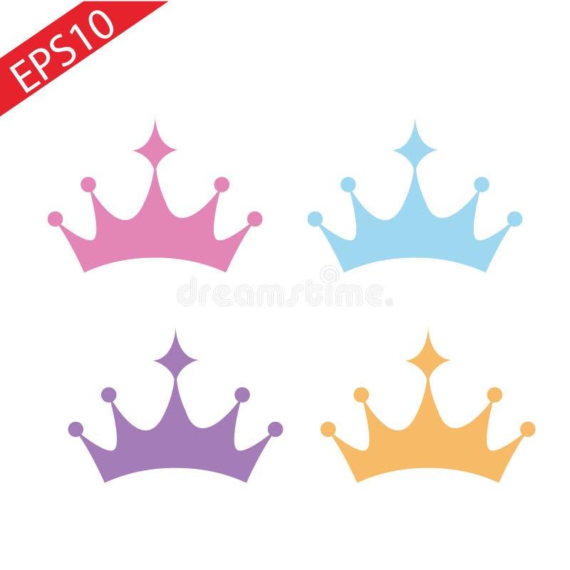 Ajuste da tiara das coroas da princesa isolada no branco Ilustração do vetor ilustração stock
