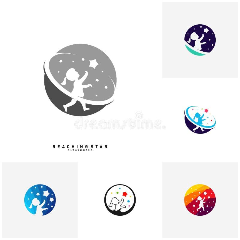 Ajuste da tomada uma estrela Logo Design Template Vetora Alcançando conceitos das estrelas Símbolo criativo - vetor ilustração royalty free