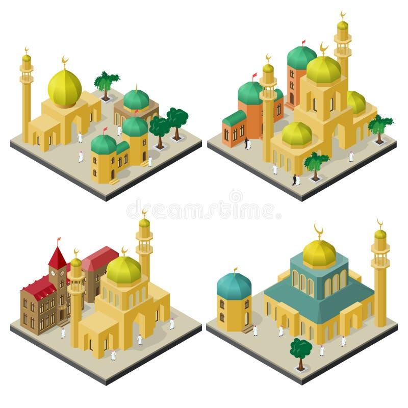 Ajuste das arquiteturas da cidade isométricas com construções multiculturais orientais ilustração stock