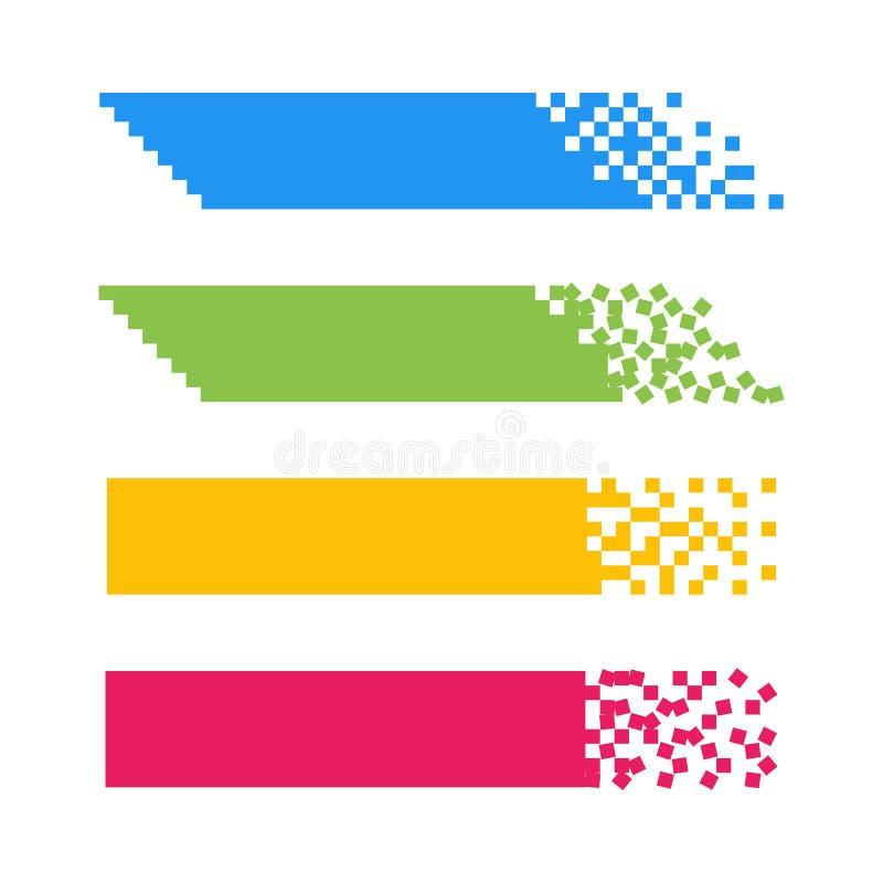 Ajuste das bandeiras abstratas coloridas da Web do pixel para os encabeçamentos isolados no branco ilustração do vetor