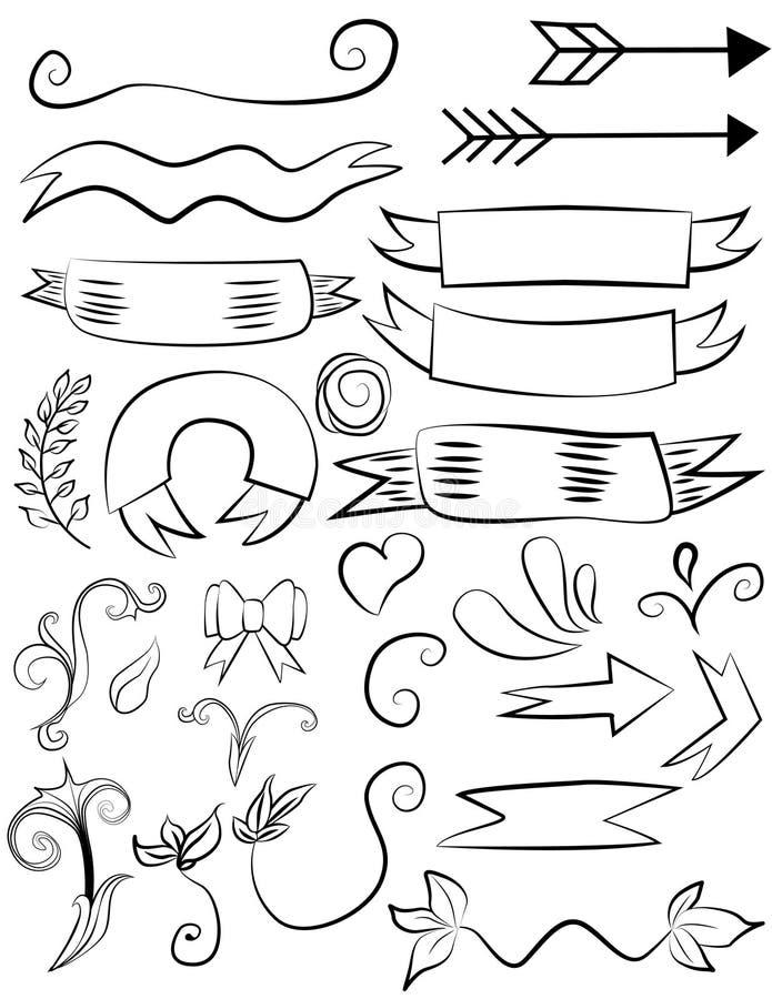 Ajuste das bandeiras bonitos da garatuja, dos elementos florais e dos corações ilustração do vetor