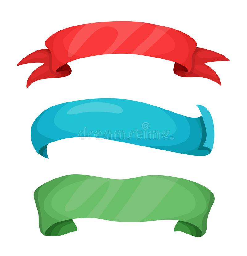 Ajuste das bandeiras coloridas da fita dos desenhos animados do vetor para seu texto ilustração do vetor