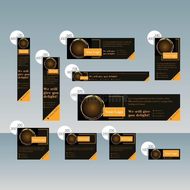 Ajuste das bandeiras da Web de tamanhos padrão para a venda com um lugar para a foto ilustração royalty free