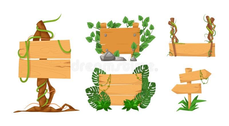 Ajuste das bandeiras de madeira com ramos da liana e as folhas tropicais da floresta úmida ilustração stock