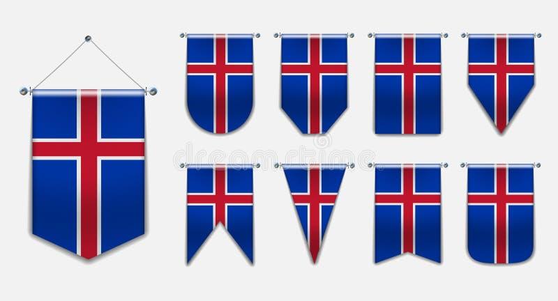Ajuste das bandeiras de suspensão da ISLÂNDIA com textura de matéria têxtil Formas da diversidade do país da bandeira nacional Fl ilustração royalty free