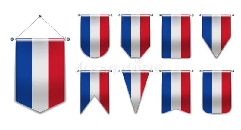 Ajuste das bandeiras de suspensão dos PAÍSES BAIXOS com textura de matéria têxtil Formas da diversidade do país da bandeira nacio ilustração royalty free