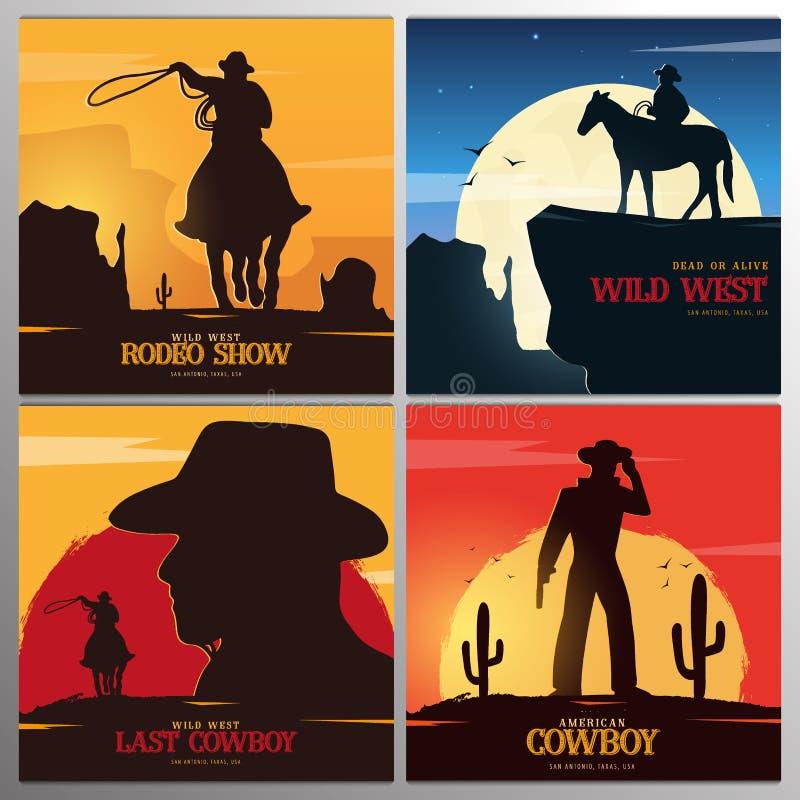 Ajuste das bandeiras do vaqueiro rodeo Bandeira ocidental selvagem texas Ilustra??o do vetor ilustração do vetor