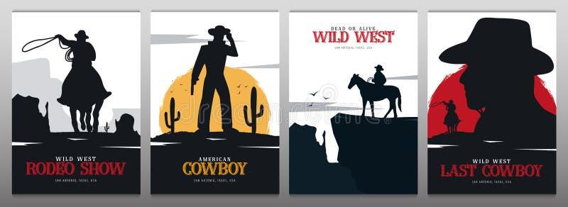 Ajuste das bandeiras do vaqueiro rodeo Bandeira ocidental selvagem texas Ilustra??o do vetor ilustração stock